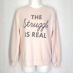 Awake sweatshirt, pullover, size medium, soft pink